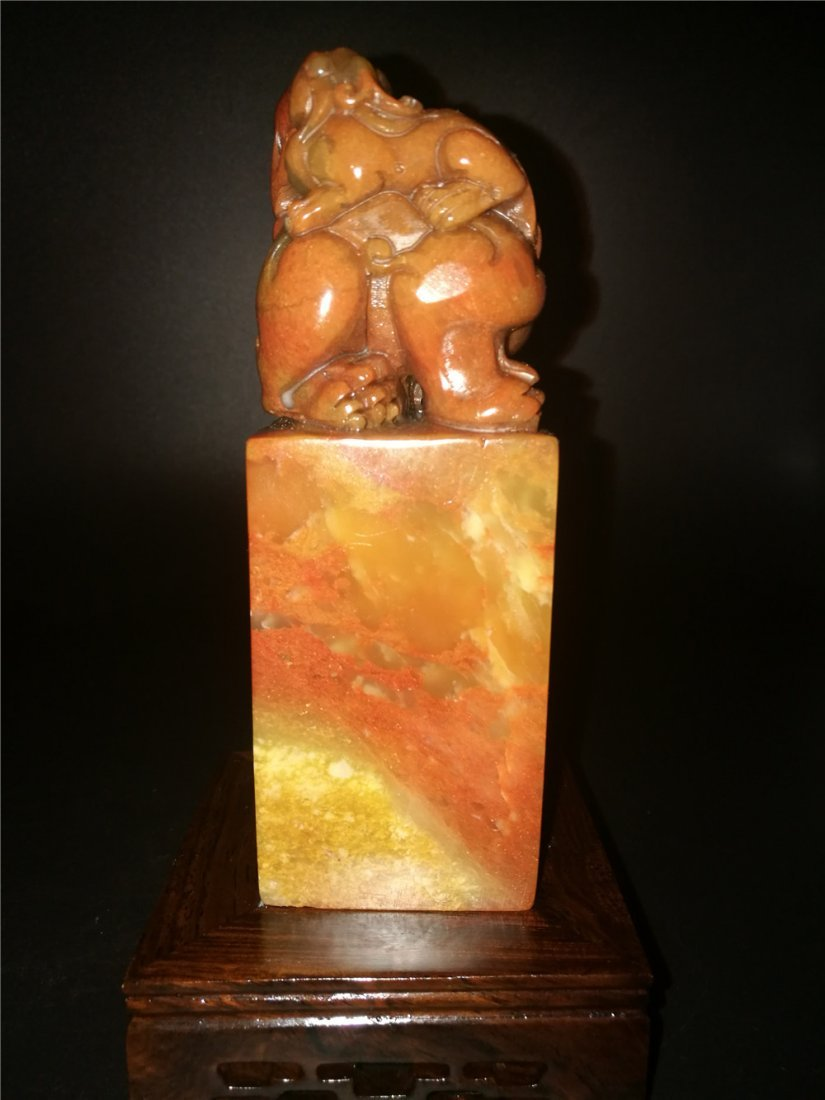 Chinese Golden Stone Seal Chop Carving - 3