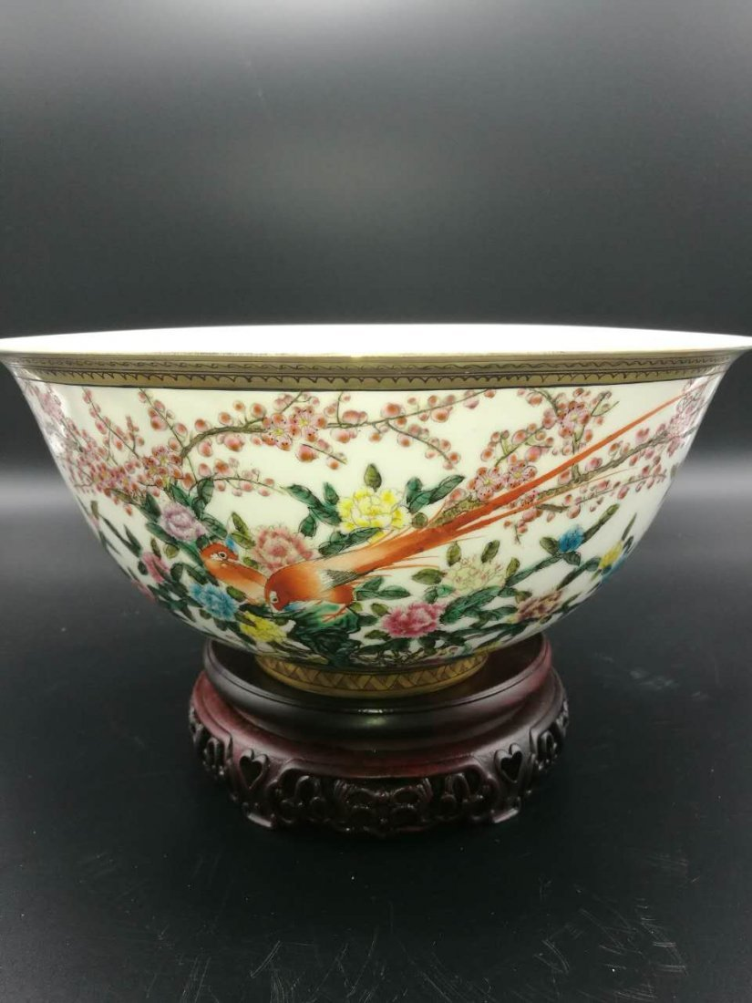 Chinese Thin and big Famille Rose Porcelain Bowl - 5