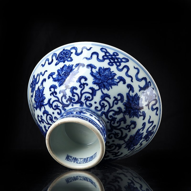 Chinese blue and white footed bowl in the qing dynasty - 2