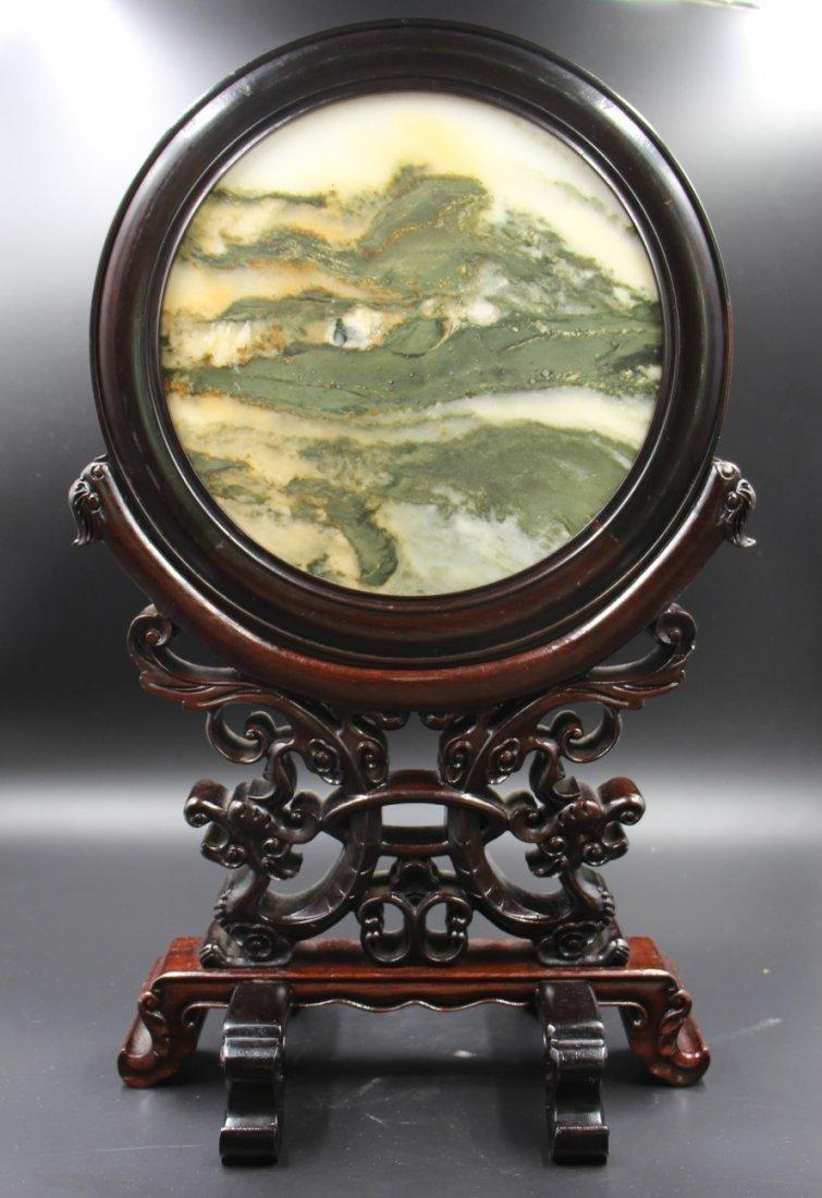 Rosewood inlay stone table screen - 3