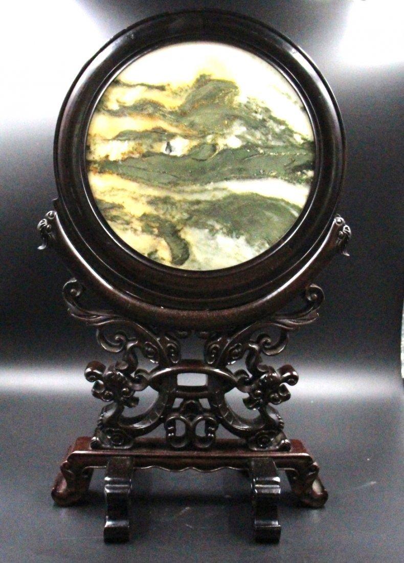 Rosewood inlay stone table screen - 5