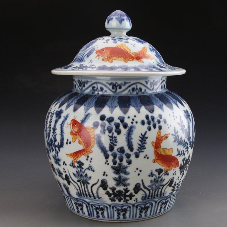 Ming dynasty style porcelain jar