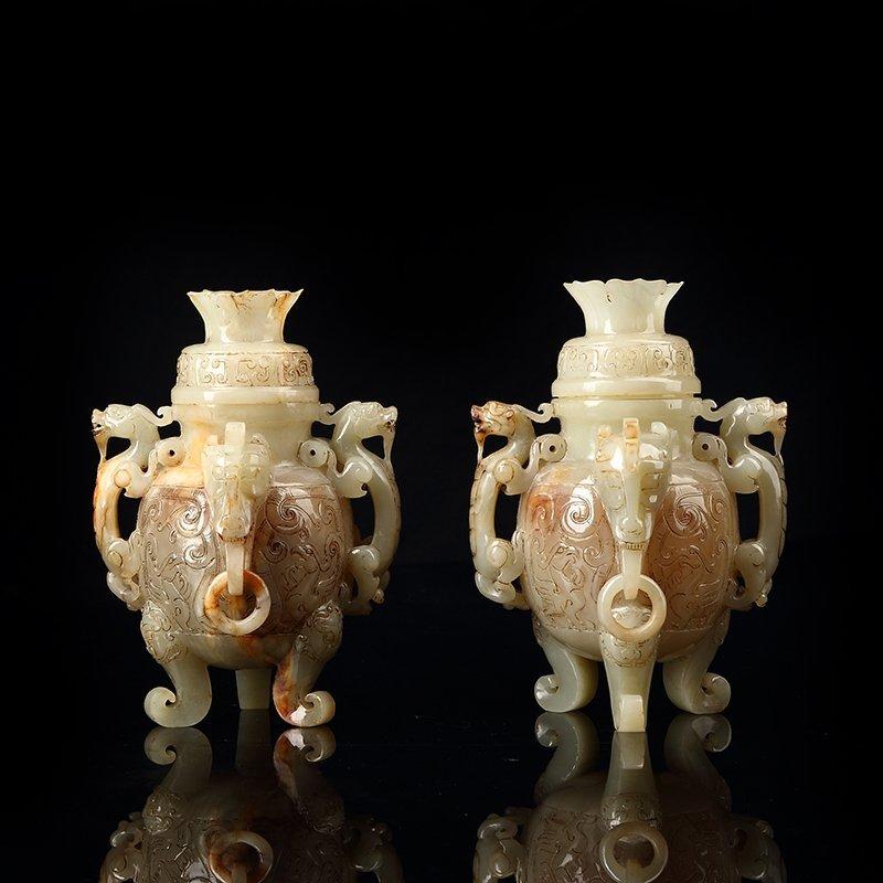 Chinese Longfeng Hetian Jade Han Dynasty Vase