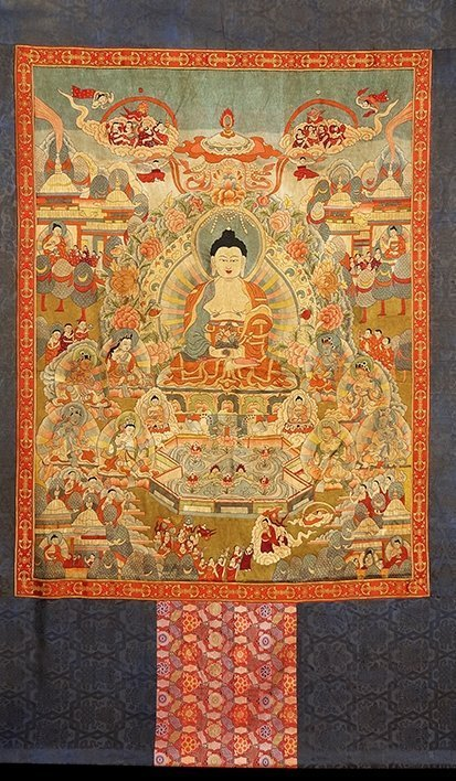 Chinese The court of huge needlepoint thangka