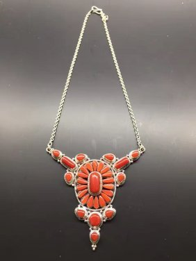 Chinese Coral and silver Necklace