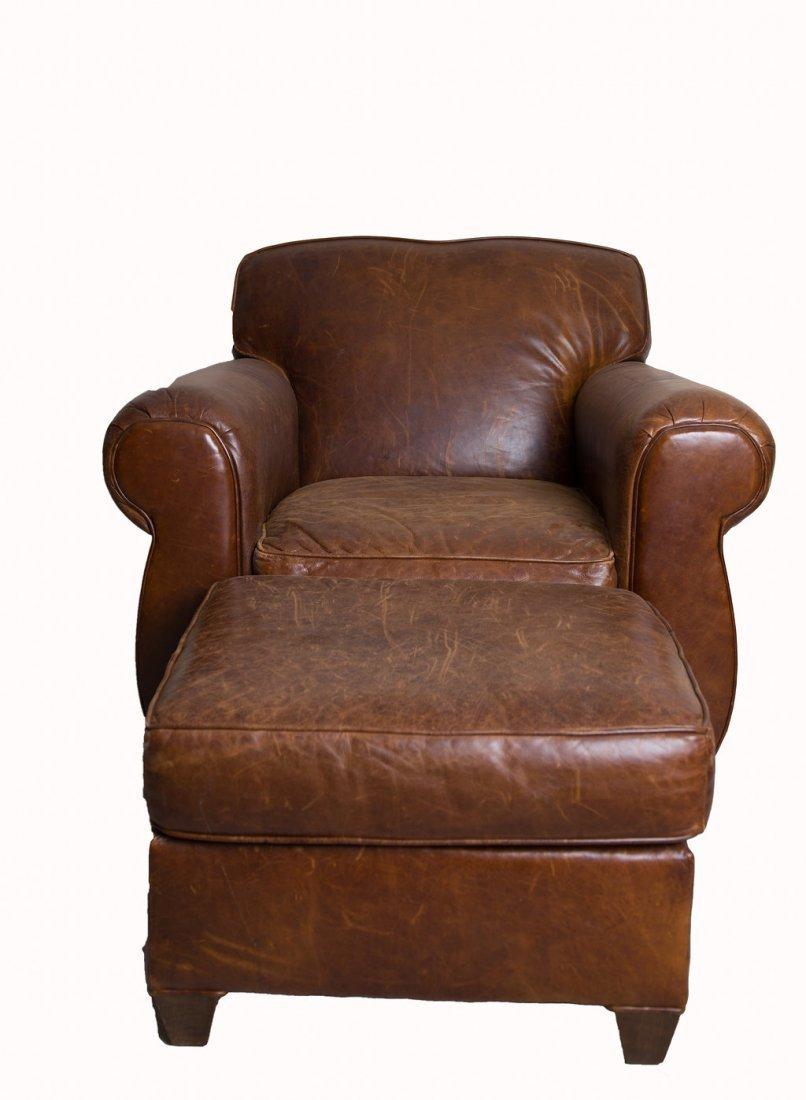 Restoration Hardware Leather Club Chair & Ottoman
