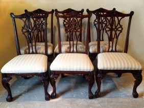 6 Chippendale Style Dining Chairs