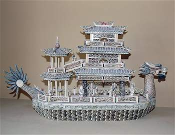 Ivory & Bone Carved Chinese Boat