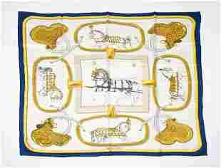 HERMES Hermes foulard de soie grand apparat