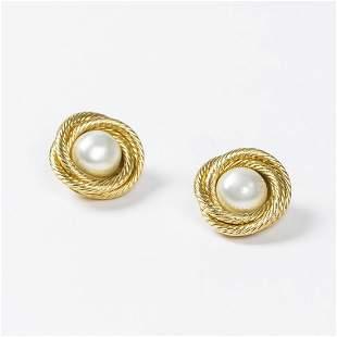 Chanel Round Twisted Pearl Earrings Earrings