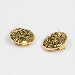 Chanel Round Logo Lines Clip Earrings Earrings