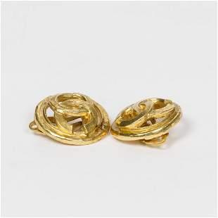 Chanel Round Logo Clip Earrings Earrings