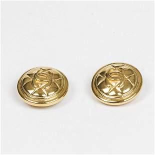 Chanel Round Logo Matelasse Clip Earrings Earrings