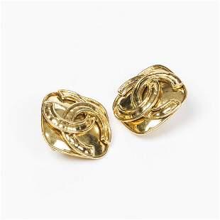 Chanel Diamondshaped Logo with Waves Clip Earrings