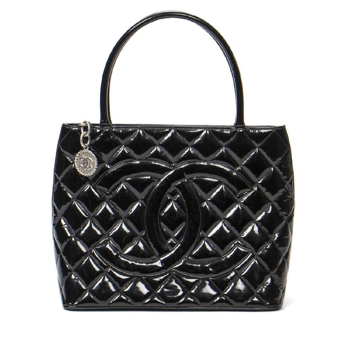 Chanel Medallion in Black Patent Quilted Leather