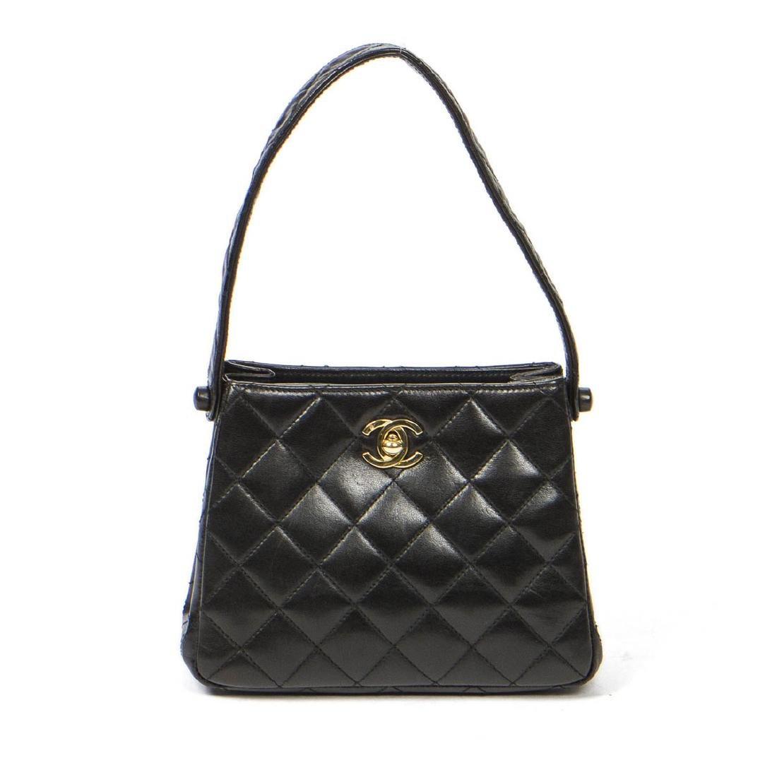 Chanel Small Handbag in Black Quilted leather