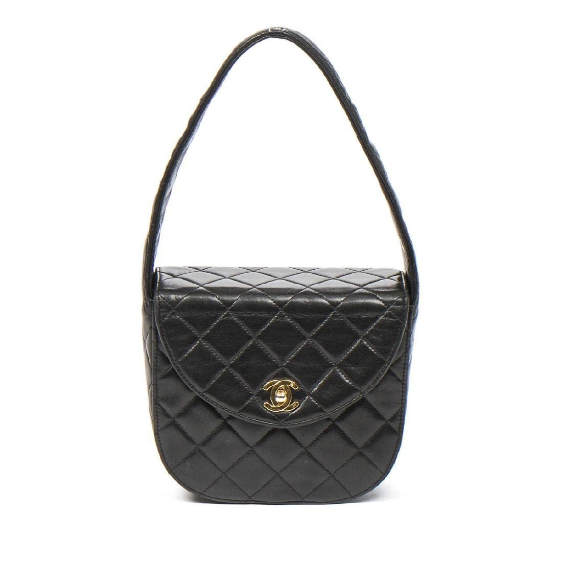 Chanel Make up Hand Bag in Black Quilted Leather