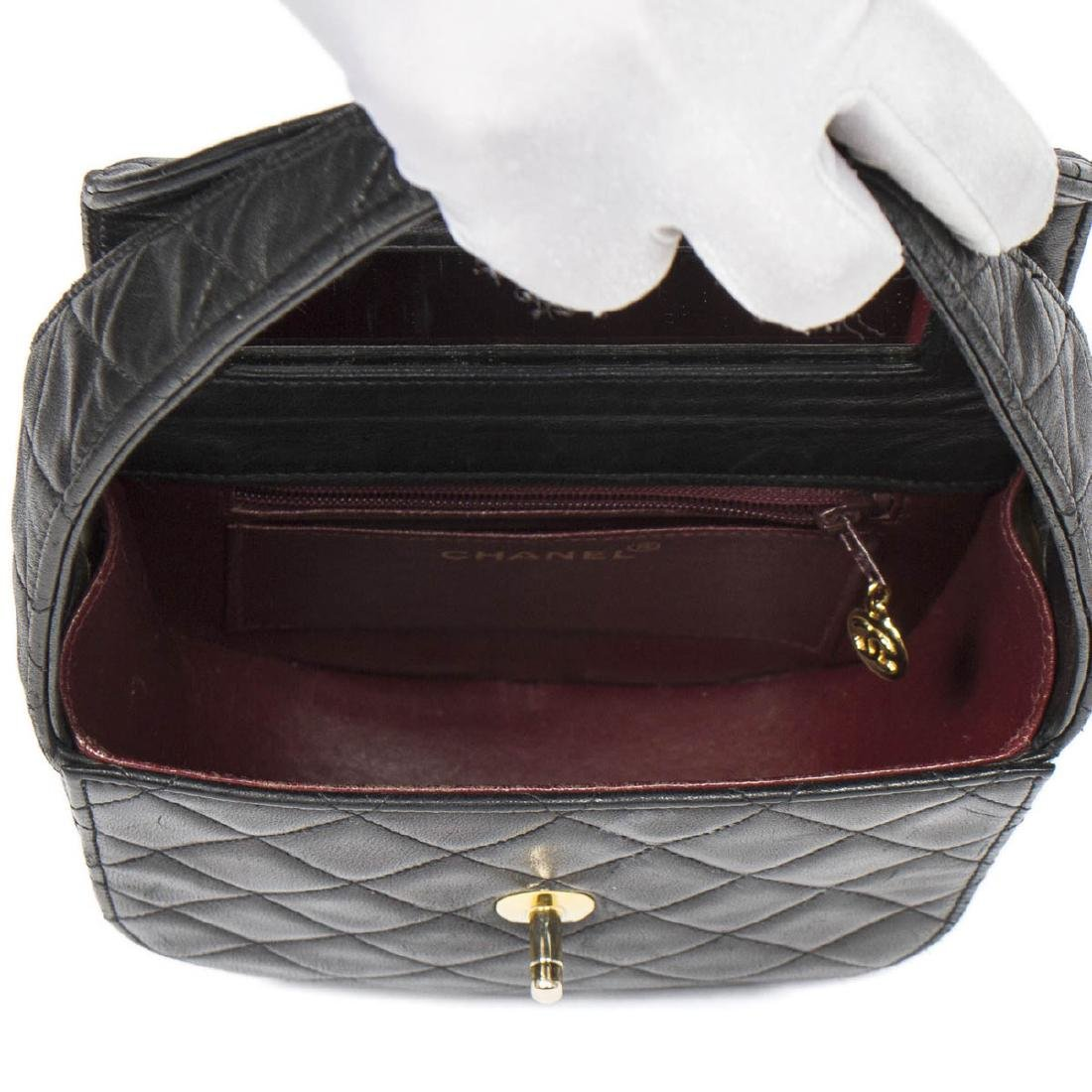 Chanel Make up Hand Bag in Black Quilted Leather - 7
