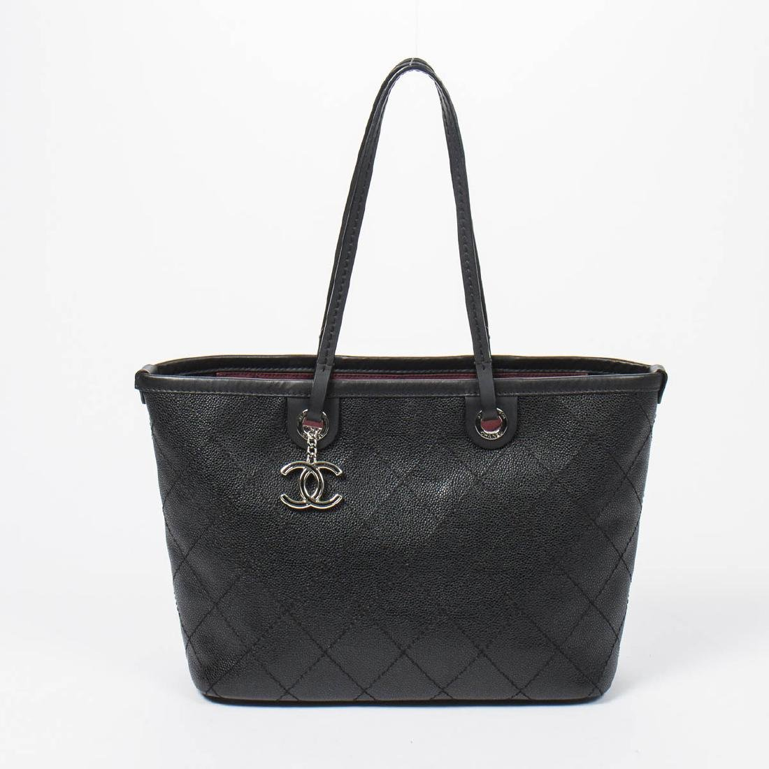 Chanel Shopping Tote MM in Black Quilted Caviar Leather