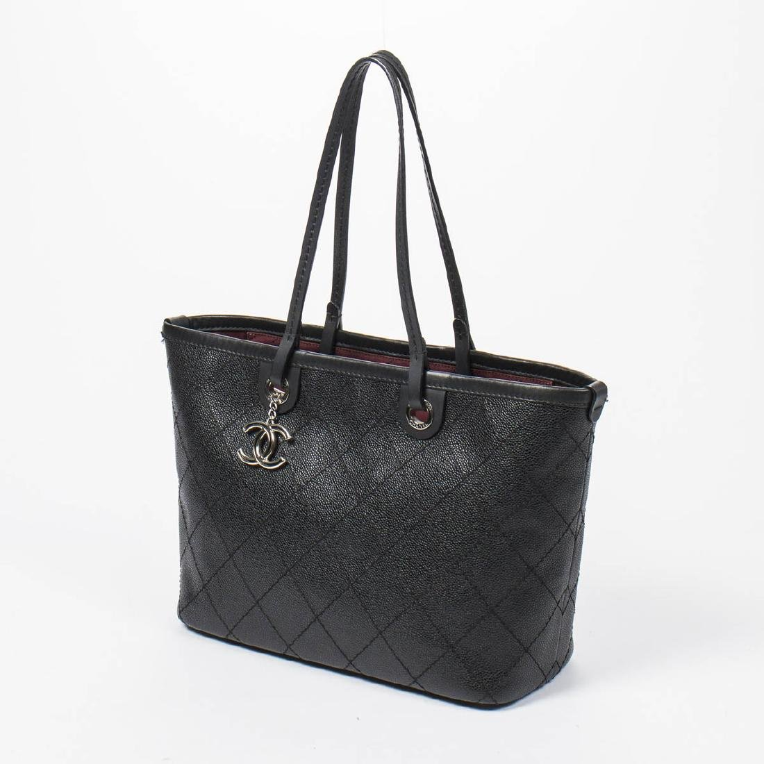 Chanel Shopping Tote MM in Black Quilted Caviar Leather - 2