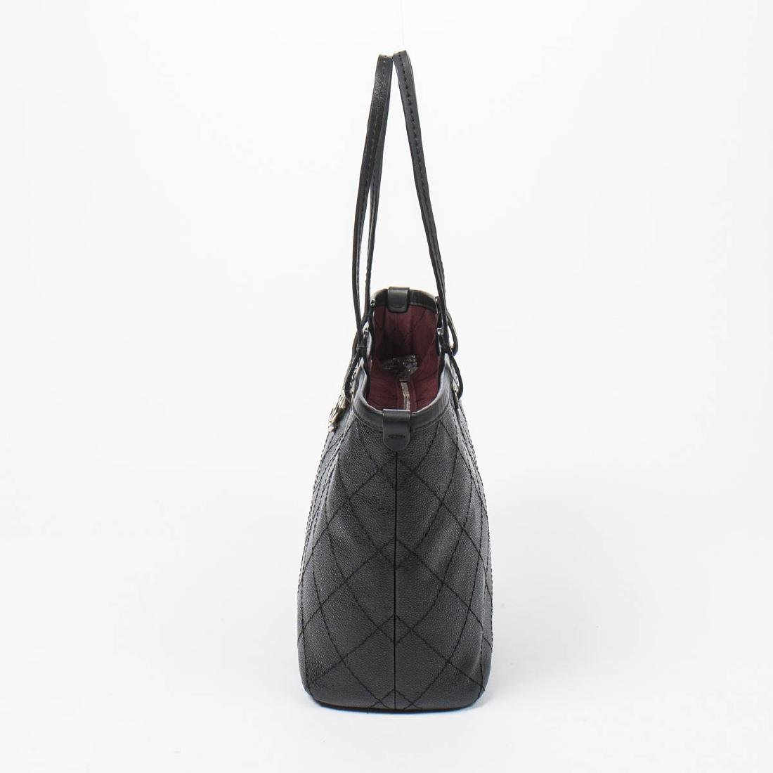 Chanel Shopping Tote MM in Black Quilted Caviar Leather - 3