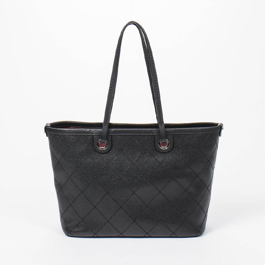 Chanel Shopping Tote MM in Black Quilted Caviar Leather - 5
