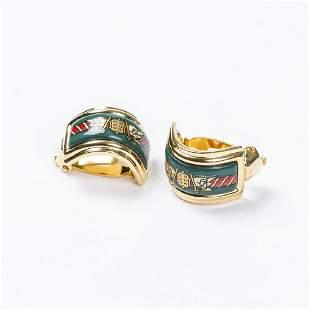 Hermes Enamel Clip Earrings