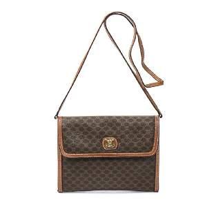 Celine Vintage Sling Flap Bag in Brown Macadame Coated