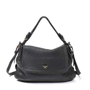 MCM Braided Flap Shoulder Bag in Black Grained Leather