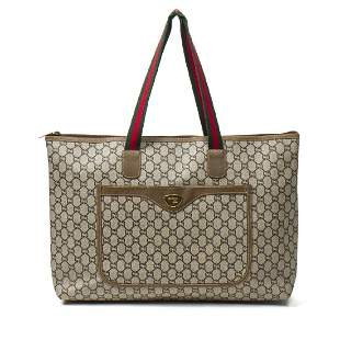 Gucci G Plus Monogram Tote with Front Pocket in Beige