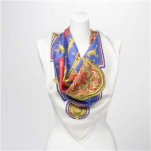 Hermes Scarf in Ivory/Red/Blue/Gold 100% Silk