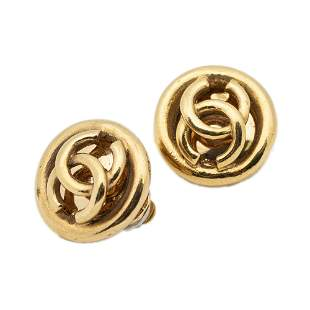 Chanel Stainless Steel without Nickel Logo Earrings