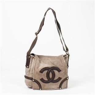 Chanel Suede Leather CC Logo Fur Shoulder Flap