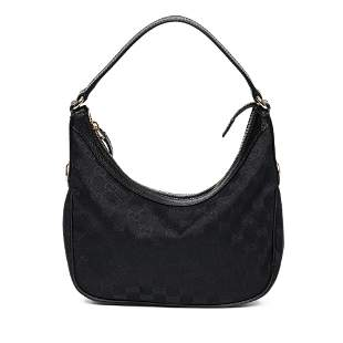 Gucci Monogrammed Canvas Zip Hobo Handbag