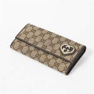 Gucci Monogrammed Canvas Large Logo Heart Wallet
