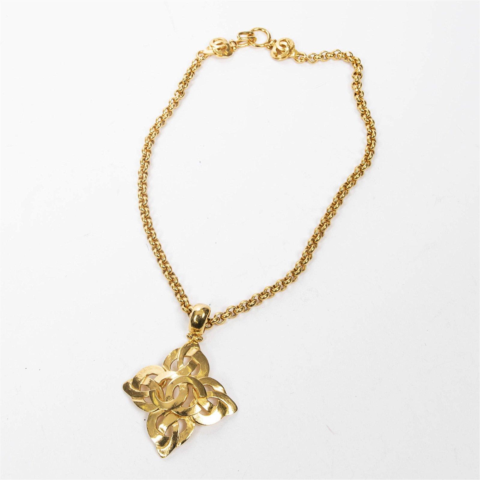 Chanel CC Flower Logo Necklace