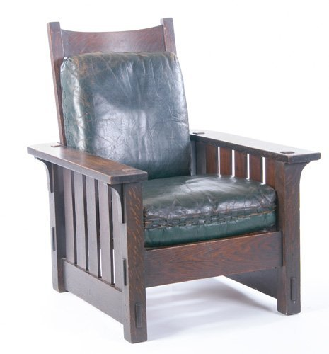 4: GUSTAV STICKLEY Flat arm Morris chair (no. 2342)