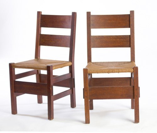 6: GUSTAV STICKLEY Pair of sidechairs with two wide hor