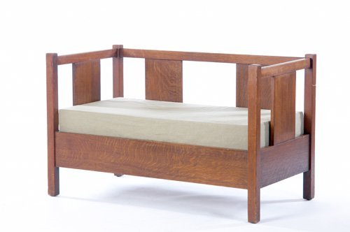 9: GUSTAV STICKLEY Rare even-arm settee (no. 214) with