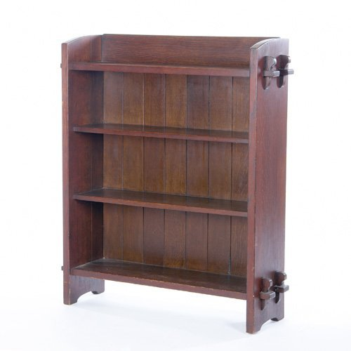 10: GUSTAV STICKLEY Early and rare open bookcase with f