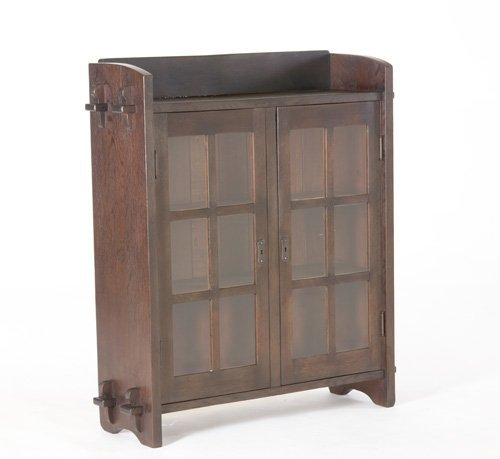 11: GUSTAV STICKLEY Two-door bookcase with mitered mull