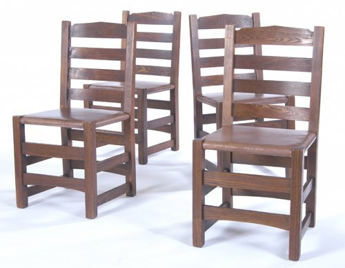 21: GUSTAV STICKLEY Set of four rare and early chestnut