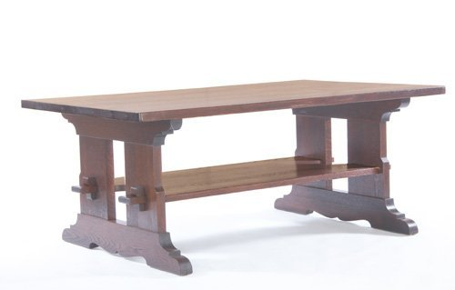 22: L. & J.G. STICKLEY Trestle table with a large lower