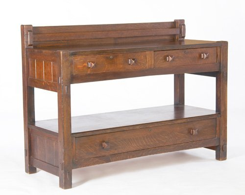 23: GUSTAV STICKLEY Early server with three drawers, ch