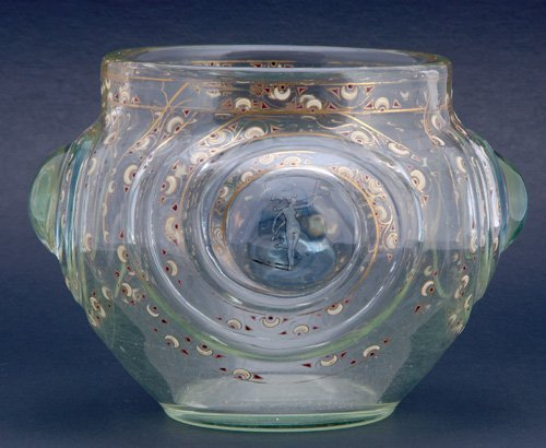 441: EMILE GALLE Enameled glass vase with four prunts,