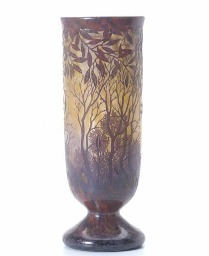449: DAUM Cameo glass vase with wooded landscape in aut
