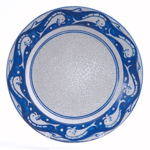465: DEDHAM Crackleware plate in the Dolphin pattern. C