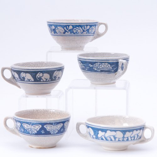 476: DEDHAM Five Crackleware cups including Elephant