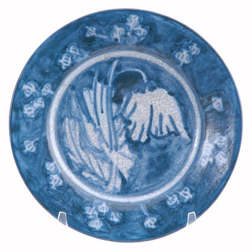 480: DEDHAM Rare Crackleware plate with a central poppy