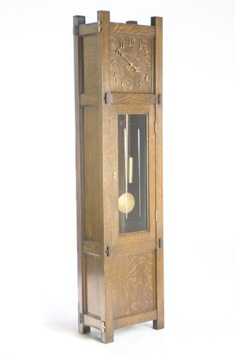 512: STICKLEY BROTHERS Grandfather clock with paneled s